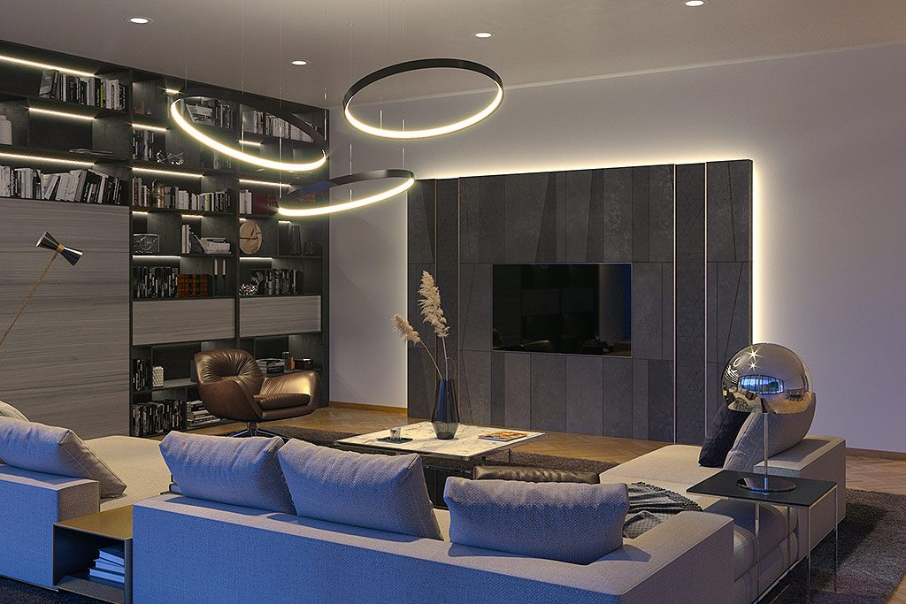 Architekrurvisualisierung Wohnzimmer