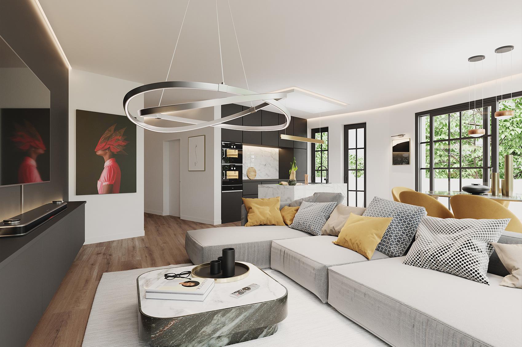 Innenraumvisualisierung Wohnzimmer und Küche