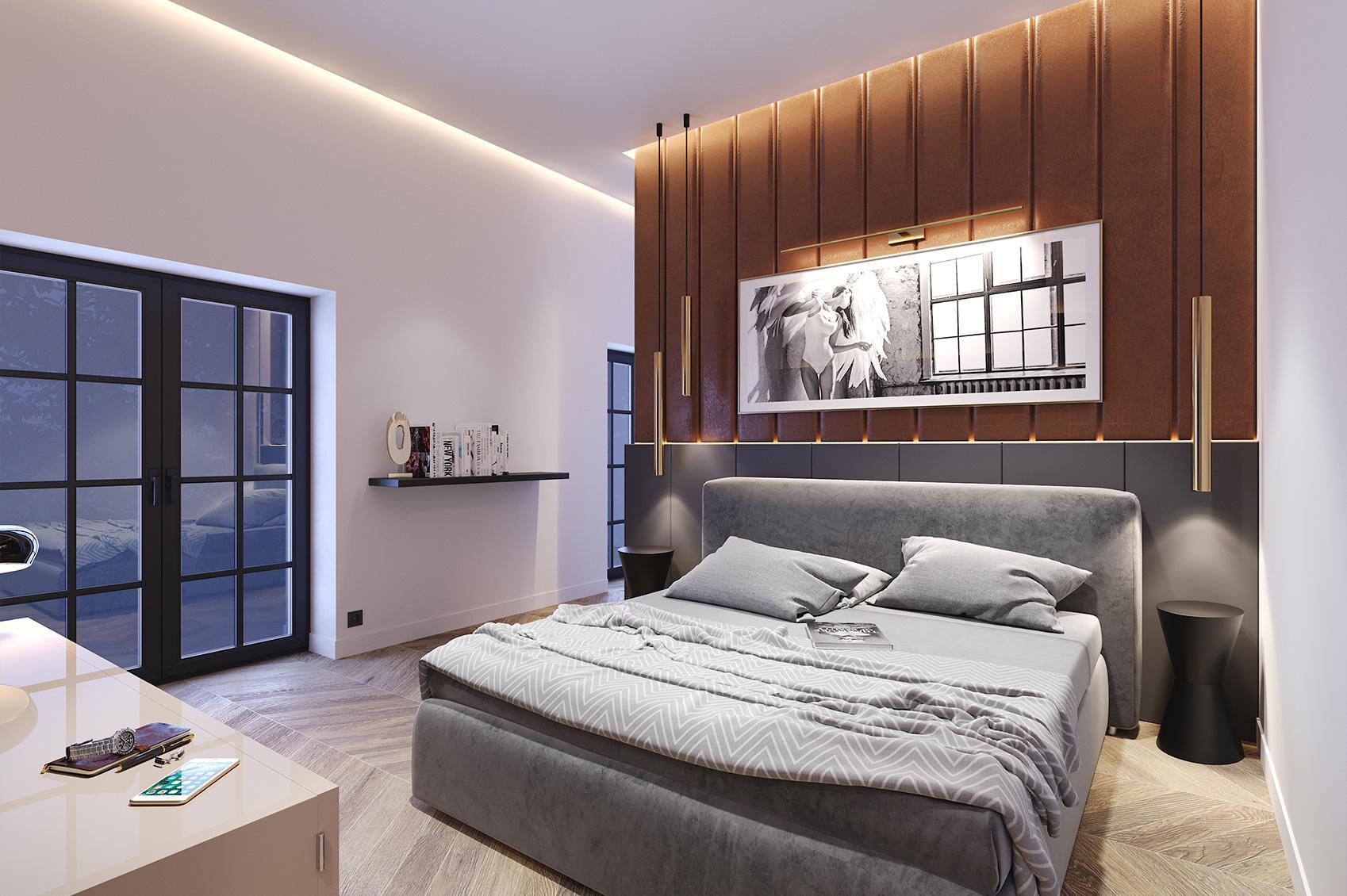Innenraumvisualisierung Loftwohnung Schlafzimmer