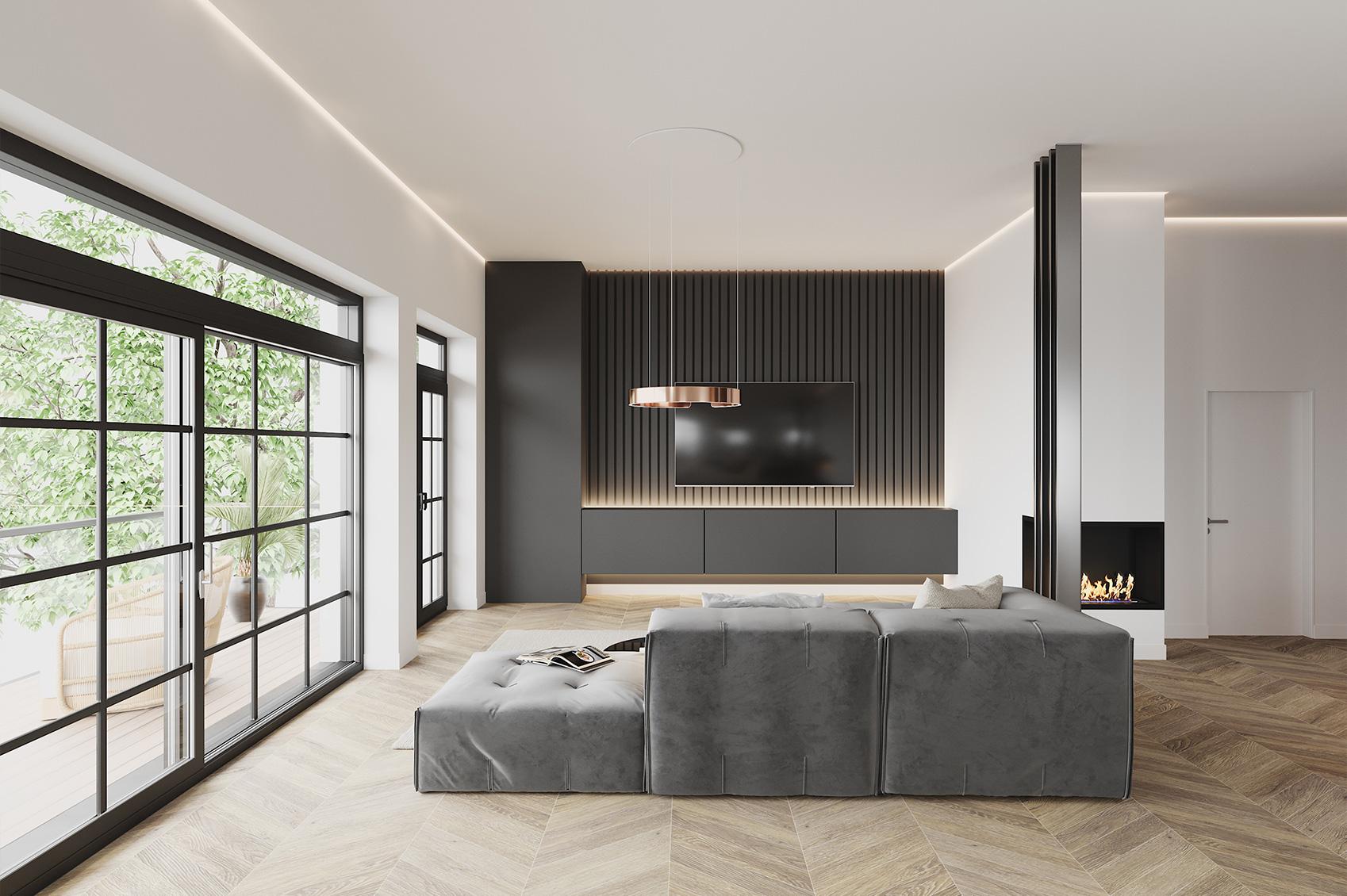 Innenraumvisualisierung Loftwohnung Wohnzimmer