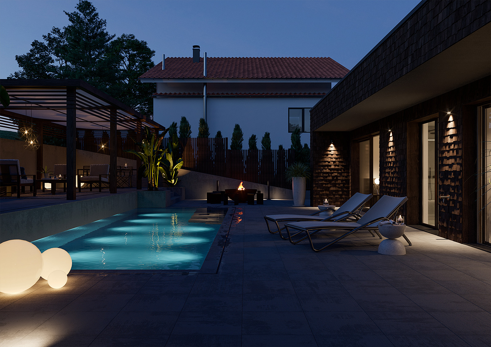 Architektur Visualisierung Pool